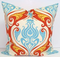 BLUE and ORANGE PILLOW.18x18 inch Indoor.Outdoor.Decorator Pillow Cover.Printed Fabric Front and Back.Indoor.Outdoor.46 cm