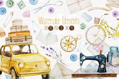 Watercolor elements v.1 by Lembrik's Artworks on @creativemarket