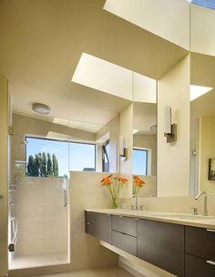 Dream bathroom - tile, shower door, light quality.