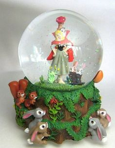 Sleeping Beauty / Briar Rose and forest animals musical snowglobe