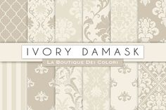 Ivory Damask Seamless Digital Paper by La Boutique dei Colori on @creativemarket