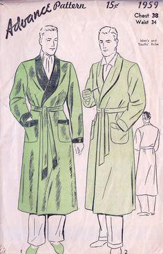 "1930's Men's Bathrobe Vintage Sewing Pattern, Advance 1959 Chest 38"""
