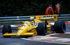 Ayrton Senna in his Lotus 99T at the 1987 Belgian Grand Prix at Spa-Francorchamps.