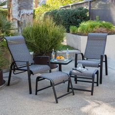 Belair 5 Piece Recliner & Ottoman Set with Table - Boulon Brown by Terrace Living. $349.99. Rust-resistant aluminum with a rich, brown finish. Aluminum won't rust or stain outdoors. Quick-drying, no-hassle sling seats and ottoman. Chairs recline for even more luxurious comfort. Outdoor recliner set that's perfect by the pool. Even though you may not have gone through with it, you've already considering moving your living room recliner onto the porch, but now you can table that qu...