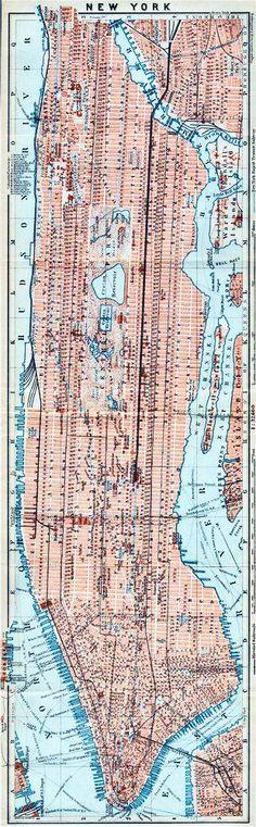MANHATTAN antique town city plan panorama. New York City. BAEDEKER, 1909 map Antique Maps, Manhattan, New York City, City Photo, How To Plan, Antiques, Old Maps, Antiquities, Antique