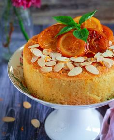 Soft, moist and bursting with bright citrus flavour, this Orange Semolina Almond Cake is really a fabulously lush tea time treat! Eggless Desserts, Eggless Recipes, Eggless Baking, Almond Recipes, Baking Recipes, Dessert Recipes, Cake Recipes, Eggless Orange Cake, Orange And Almond Cake
