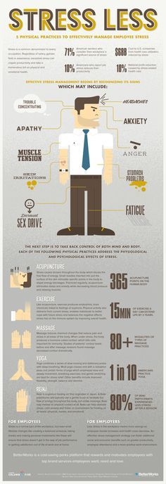 Stress Less: 5 Physical practices to effectively manage employee stress #infographic