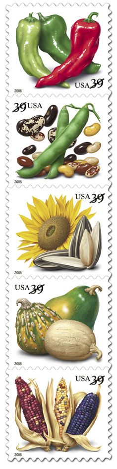 """""""Crops of the Americas"""" stamp collection.  I liked these, probably because I like to cook."""
