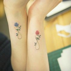 Cute idea for a sisters tattoo, and have each flower be our favorite colour