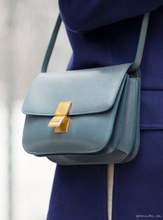 Lara Melchior, street style, New York, Celine / Garance Doré -i don't want to pin céline bags but I liked the color of this one Celine Classic Box, Celine Box, Fashion Mode, Fashion Bags, Fashion Backpack, Girl Fashion, Luxury Bags, Luxury Handbags, My Bags