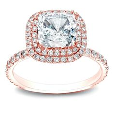 Auriya 14k Gold 1 3/4ct TDW Certified Cushion-cut Diamond Double Halo Engagement Ring
