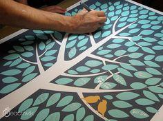 Wedding Guest Book - The Modwik - A Peachwik Interactive Art Print - 150 guest sign in - Modern Tree Guestbook
