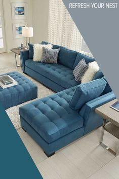 Refresh your living space! From vibrant pops of color, to simple neutrals, Rooms To Go has your next space to relax! Browse our collections today. Living Room Sofa Design, Living Room Sets, Home Living Room, Living Room Furniture, Living Room Designs, Living Spaces, Furniture Sets, Blue Sectional, Sofa Set