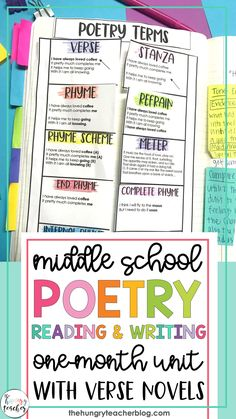 Middle School Poetry Unit Verse Novel Book Clubs Reading Unit