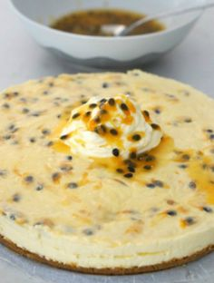 Gluten Free Passionfruit Swirl Cheesecake - delicious and it doesn't need baking!!