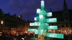 BBC News - Abstract Christmas Tree | Location: Brussels, Belgium | click link to see cool light show video