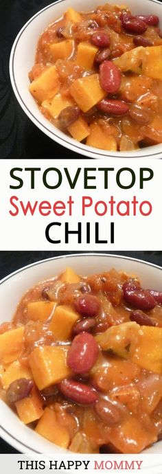 Healthy Meals For Kids My family loves this chili! Sweet potatoes, beans, and a medley of vegetables in a rich tomato based sauce. Stovetop Sweet Potato Chili is the perfect warm-up dish for a cold night. Low Fat Vegan Recipes, Vegetarian Recipes Easy, Thai Recipes, Healthy Low Fat Meals, Drink Recipes, Salad Recipes, Cooking Recipes, Pescatarian Recipes, Avocado Recipes