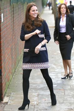 Kate Middleton arrives for an official visit at Barlby Primary School in London.