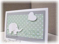 Baby cards for the supply (Stempelberg) - Geburtsanzeige Baby Boy Cards, New Baby Cards, Baby Shower Cards, Storch Baby, Baptism Cards, Kids Birthday Cards, Baby Album, Little Elephant, Baby Scrapbook