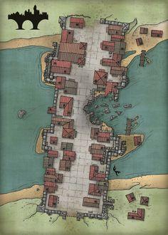 Crimson Tome: The bridge city of Bridgenburgen Fantasy City Map, Fantasy World Map, Dungeons And Dragons Homebrew, D&d Dungeons And Dragons, Plan Ville, Pathfinder Maps, Village Map, Rpg Map, Map Layout