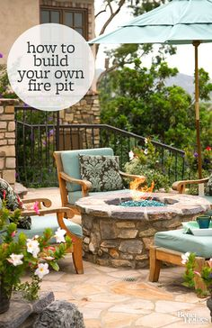 Learn how to build a fire pit with our easy instructions here: http://www.bhg.com/home-improvement/porch/outdoor-rooms/how-to-build-a-fire-pit/?socsrc=bhgpin080914howtobuildafirepit