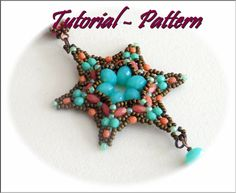 Beading pattern tutorial for beaded pendant Dallo  PDF by Tiszi Dallo is a star shaped pendant of about 6 cm diameter. Made with firepolished donuts, firepolished ovals, firepolished beads and seed beads .
