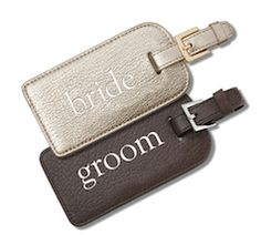 Bride and groom luggage tags!
