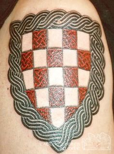 Croatian coat of arms with Croatian knot work. Croatian Tattoo, House Outside Design, Blood Groups, My Heritage, Body Mods, Coat Of Arms, Sleeve Tattoos, Tatting, Tatoos