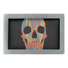 Colorful Skull Rectangular Belt Buckles #Skull #Halloween #BeltBuckle