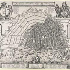 The situation, map of Amsterdam in the 17th century. -  Plattegrond van Amsterdam met het ontwerp van de stadsuitbreiding van Daniel Stalpaert, Daniel Stalpaert, A. Besnard, Frederik de Wit, 1657 - Rijksmuseum