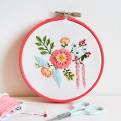"Stitch this cute little bouquet in a 4"" hoop using some basic embroidery stitches."