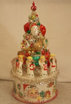 Made from vintage Christmas decorations