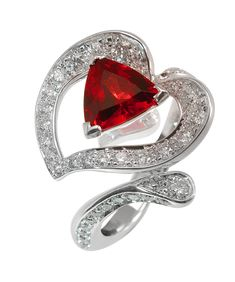 Arôme ring White gold Diamonds Red spinel *Available in the US, exclusively at https://gerardriveron.com/collections/mathon-paris
