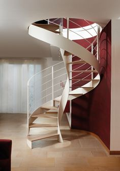 Awesome 47 Modern Spiral Stairs Design Ideas That Will Make Amazed. Spiral Stairs Design, Staircase Design, Railing Design, Staircase Ideas, Staircase Pictures, Affordable Bedroom Sets, Escalier Design, Modern Stairs, Design Moderne