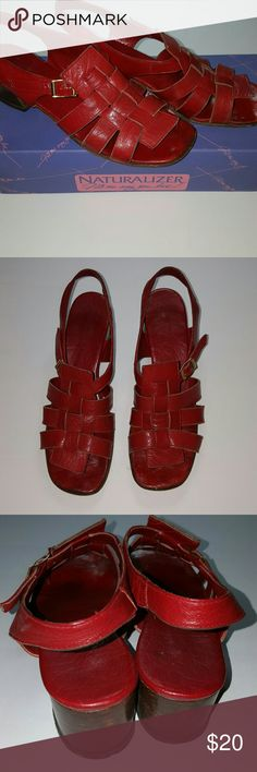 Naturalizer Brand  Sandals. Good condition.  Please see all photos for reference . Size 6B. 1.5 inches heels. The color is darker Red. Naturalizer  Shoes Sandals