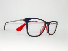 Óculos Pequeno Armação Acetato Unissex Tamanho 47 Azul