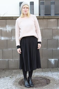 Winter outfit with midiskirt