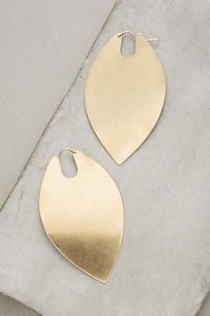Slide View: 1: Brass Leaf Duo Hoops