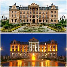 Amber Palace by day and night, Wloclawek, Kujawsko-Pomorskie province, Poland.