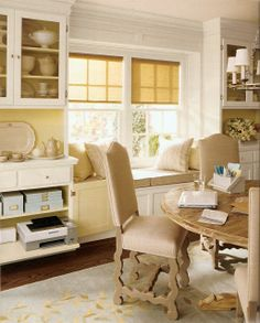 MARTHA MOMENTS: The Dining Room Office - hide equipment in the china cabinet. I like the built ins