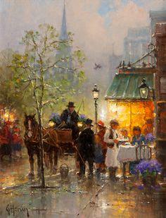"""Boston, Newbury Street"", Sidewalk Cafe oil on canvas 12 x 9 inches  SOLD"