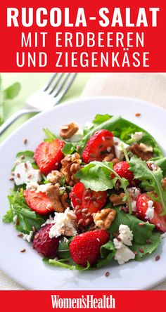 The perfect recipe for summer: arugula salad with strawberries and goat cheese. Informations About Rucola-Salat mit Erdbeeren und Ziegenkäse – Rezepte – Women's Health Pin You can easily use my … Salad Recipes Healthy Lunch, Salad Recipes For Dinner, Easy Salads, Healthy Dinner Recipes, Health Recipes, Baked Salmon Recipes, Chicken Salad Recipes, Cottage Cheese Salad, Goat Cheese Recipes