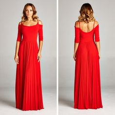 """""""I'm Not Lonely"""" Dress (Red) - Long cold shoulder cocktail dress featuring pleated skirt. Made in USA. - $115.00"""