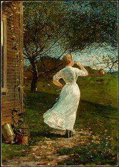Winslow Homer- The Dinner Horn, 1870.