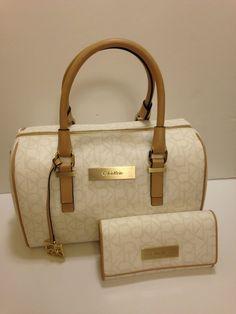 Calvin Klein jordan sleek satchel handbag with matching wallet #CalvinKlein #Satchel