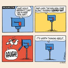 This is my favorite Snoopy jumping out of the mailbox *ARGH!*
