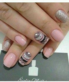 19 best nail design nature short - Make up - Nageldesign Lace Nails, Pretty Nail Art, Powder Nails, Nail Decorations, Cool Nail Designs, Perfect Nails, Manicure And Pedicure, Nails Inspiration, Beauty Nails