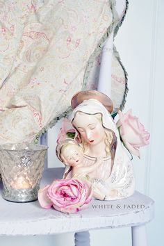 Gallery – White & Faded, lovely statue of the Blessed mother and Jesus<3