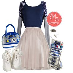 In this outfit: R2 With Me? Bag, Plan for Playfulness Top, Full Pointe of View Skirt, Endorse the Force Earring Set, Droid to the World Stocking, Sporty Favors the Bold Hi-Top Sneaker in White