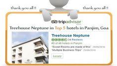 """Treehouse Neptune in the Top 5 Hotels in Panjim, Goa  Rated on TripAdvisor India Thank you all !!! Website : http://treehousehotels.in/hotels/treehouse-neptune-goa/"""